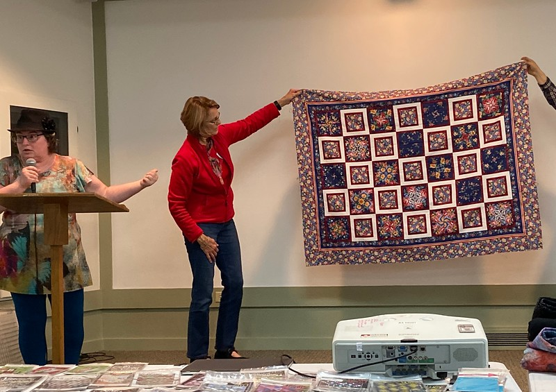 Chelane Priller did not make this quilt top, but it was made by her mother-in-law.  She is giving this to Elaine for the chemo quilt project.