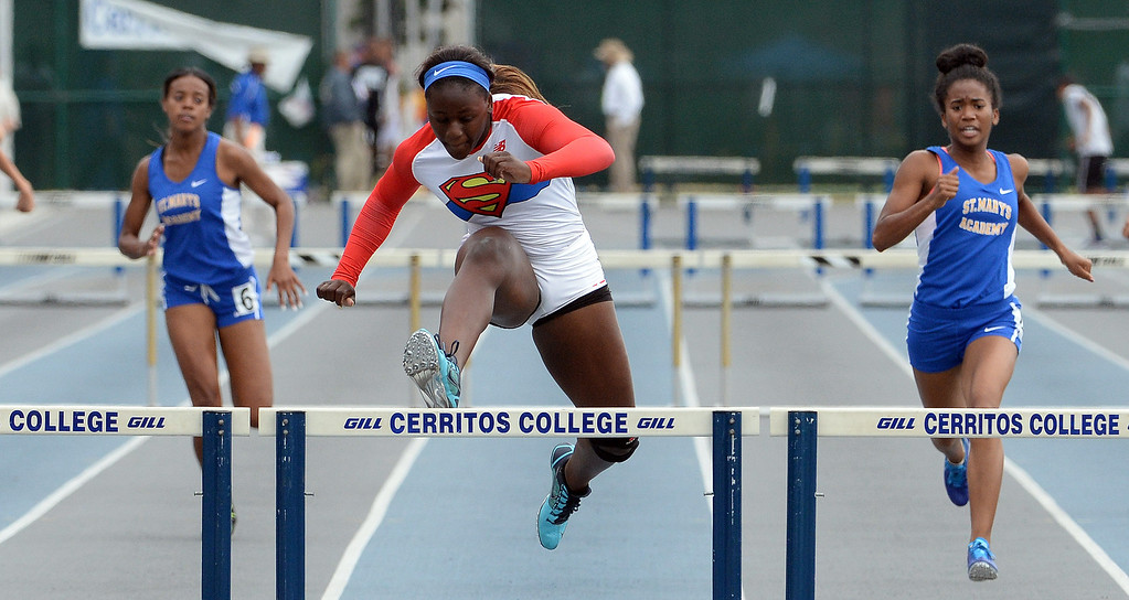 . Serra\'s Jeanette Paul wins the division 4 300 meter low hurdles during the CIF Southern Section track and final Championships at Cerritos College in Norwalk, Calif., Saturday, May 24, 2014.   (Keith Birmingham/Pasadena Star-News)