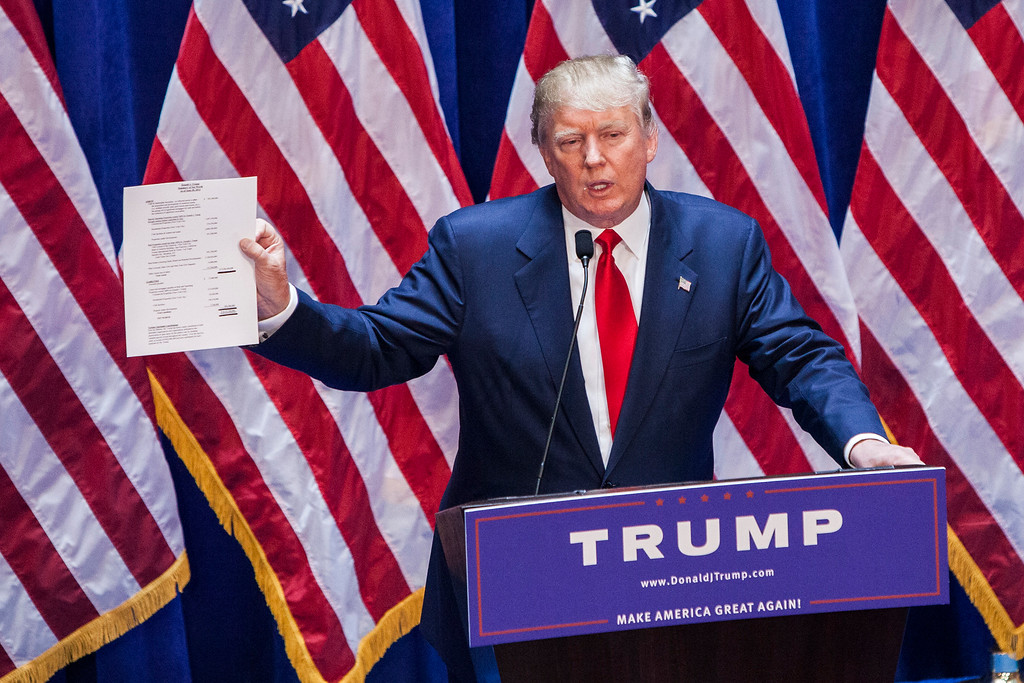 . Business mogul Donald Trump gives a speech as he announces his candidacy for the U.S. presidency at Trump Tower on June 16, 2015 in New York City.  Trump is the 12th Republican who has announced running for the White House.  (Photo by Christopher Gregory/Getty Images)
