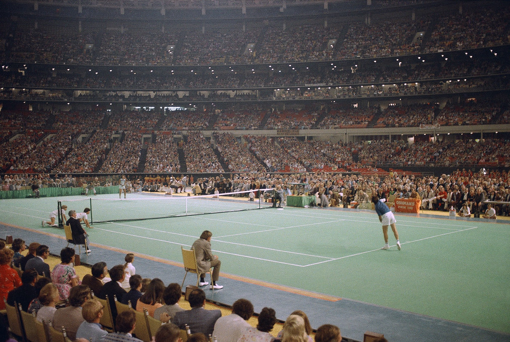 . Billie Jean King tennis player in the �Battle of the Sexes� tennis match with Bobby Riggs, the 55-year-old veteran, at the Houston Astrodome in Houston, Texas on Sept. 20, 1973. (AP Photo)