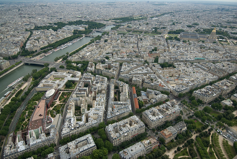 Overhead shot of the Paris skyline - France