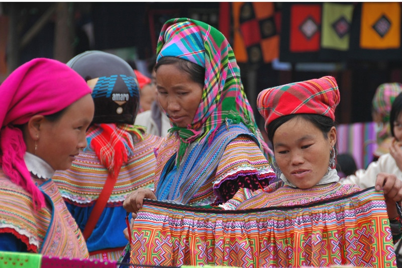 Woman Looking at Clothes - Bac Ha, Vietnam