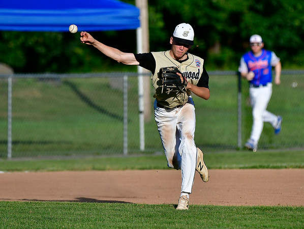 7/9/2019 Mike Orazzi | Staff Edgewood's Tyler Stickels (8) during Tuesday night's Senior Little League Baseball with Stamford in Bristol.