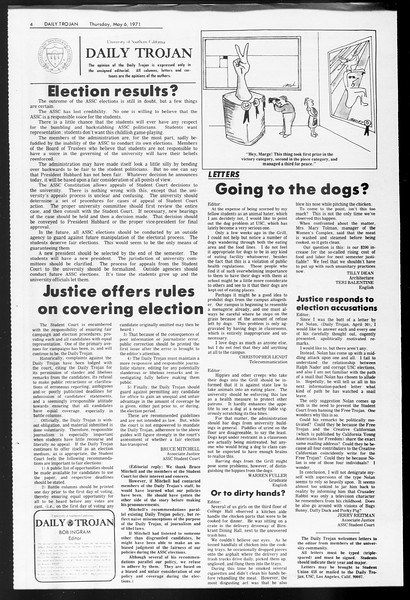Daily Trojan, Vol. 62, No. 118, May 06, 1971