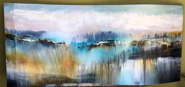 Undelating Vista-Hollack, painting on sculptured canvas