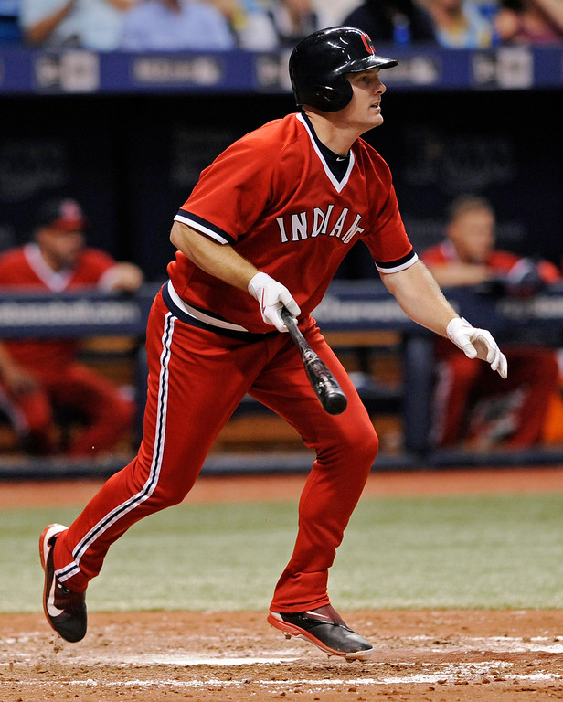 . Cleveland Indians\' Jay Bruce watches an RBI single off Tampa Bay Rays starter Chris Archer during the sixth inning of a baseball game Saturday, Aug. 12, 2017, in St. Petersburg, Fla. (AP Photo/Steve Nesius)