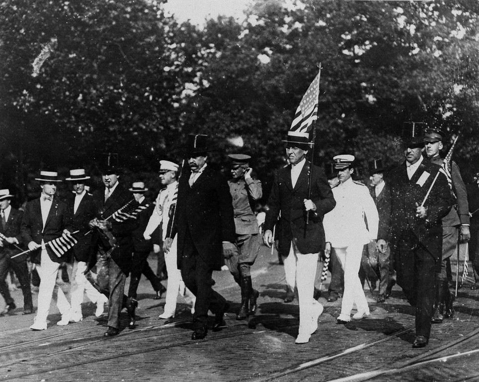 . President Woodrow Wilson leads the Draft Parade in Washington, D.C., Sept. 4, 1917. Five months earlier congress had adopted and approved the resolution declaring a state of war exists between the U.S. and the Imperial German Government. (AP Photo)