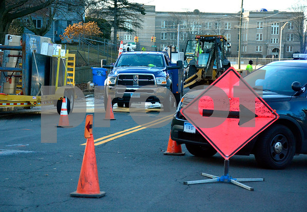 12/6/2017 Mike Orazzi   Staff The scene of a water main break on South Street in Bristol Wednesday afternoon.