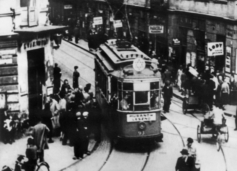 . File picture taken in the 40\'s of a tramway going around a street of the Warsaw Jewish ghetto, displaying a star of David. In October 1940, the Nazis began to concentrate Poland\'s population of over 3 million Jews into overcrowded ghettos, in which the largest of these, the Warsaw Ghetto, where thousands of Jews died due to rampant disease and starvation, even before the Nazis began their massive deportations from the ghetto to the Treblinka extermination camp. In 1943 the Warsaw Ghetto was the scene of the Warsaw Ghetto Uprising, the first urban mass rebellion against the Nazi occupation of Europe, which took place from 19 April until 16 May 1943, and began after German troops and police entered the ghetto to deport its surviving inhabitants. It ended when the poorly-armed and supplied resistance was crushed by German troops under the command of SS-Gruppenf¸hrer Jorgen Stroop. (OFF/AFP/Getty Images)
