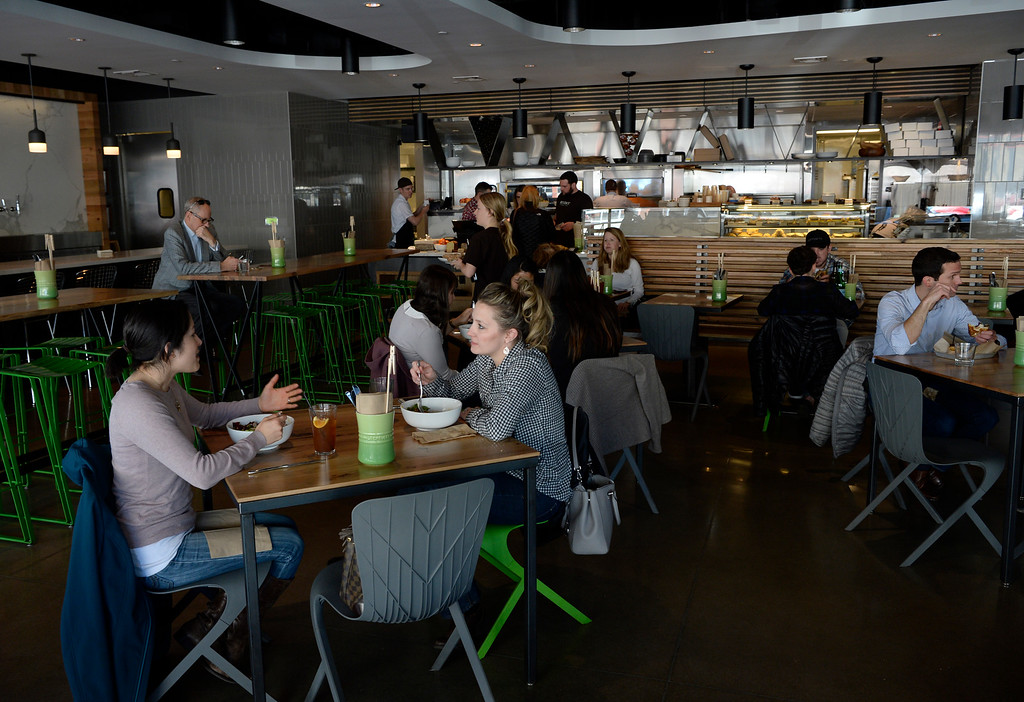 . Dining area of of the Brider restaurant on April 01, 2016. (Photo by Andy Cross/The Denver Post)