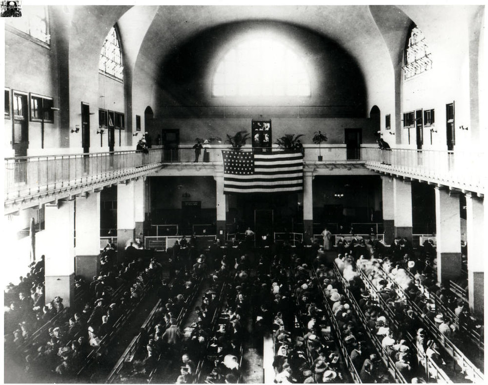 . The Registry Room The anxiety level was high in the Registry Room as immigrants await the legal inspection trying to make it into America. (NPS Photo)
