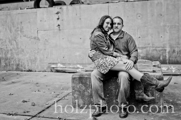 Crystal and Andrew B/W Engagement Photos