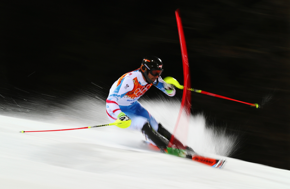 . Mario Matt of Austria in action in the second run during the Men\'s Slalom during day 15 of the Sochi 2014 Winter Olympics at Rosa Khutor Alpine Center on February 22, 2014 in Sochi, Russia.  (Photo by Clive Rose/Getty Images)