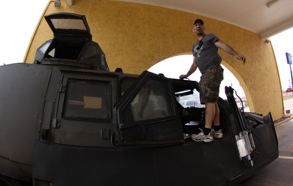 . Sean Casey - IMAX film-maker/Storm Chaser with TIV-2 (Tornado Intercept Vehicle) as he gets ready to start on another tornado IMAX film with the National Geographic in El Reno, Oklahoma Friday April 25,2014.April  26,2014.