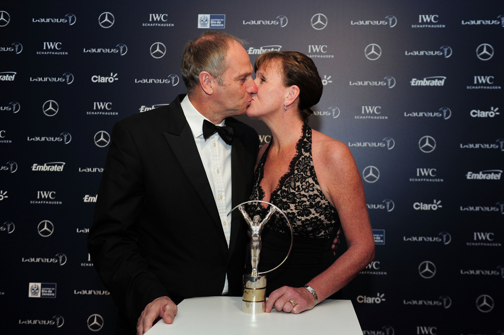 . Laureus Academy Member Sir Steve Redgrave and guest pose with the trophy at the 2013 Laureus World Sports Awards at the Theatro Municipal Do Rio de Janeiro on March 11, 2013 in Rio de Janeiro, Brazil.  (Photo by Jamie McDonald/Getty Images For Laureus)