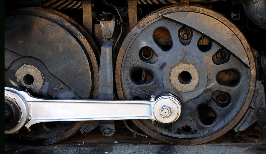 """. The wheels of the Union Pacific \""""Big Boy\"""" in the Railgiants Train Museum during the 91st Annual L.A. County Fair in Pomona, Calif. on Thursday, Sept. 5, 2013.   (Photo by Keith Birmingham/Pasadena Star-News)"""