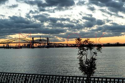 Jersey City, NJ - November 10:  The Sunset over the Hoboken River, Jersey City, USA