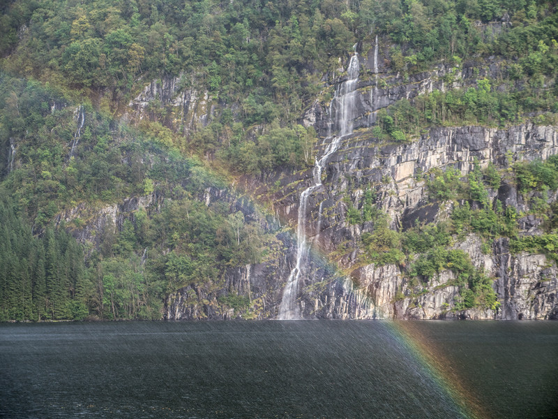 Waterfall and Rainbow in the fjords