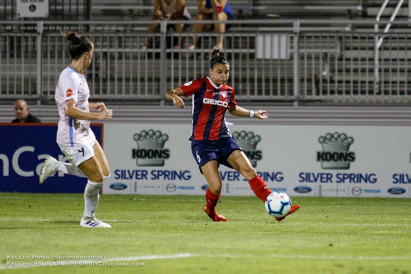Washington Spirit midfielder/defender Amy Harrison (7) sends in a cross at Maureen Hendricks Field in Boyds, MD, on July 20, 2019.