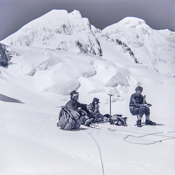 1957 JER Mathews climbing to Pioneer Hut above Fox Glacier 5 (LF trans) a.jpg