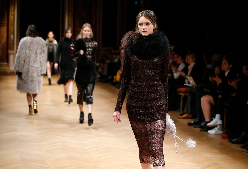 . Models wear creations for Sharon Wauchob\'s ready-to-wear fall/winter 2014-2015 fashion collection in Paris, Thursday, Feb.27, 2014. (AP Photo/Michel Euler)