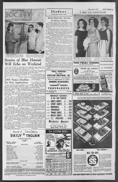 Daily Trojan, Vol. 54, No. 101, April 19, 1963