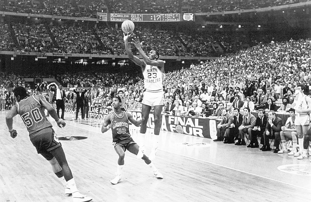Description of . Michael Jordan fires the game-winning shot in the final seconds against Georgetown in the championship game of the NCAA tournament in New Orleans on March 29, 1982. Jordan has made nearly 30 game-winning shots in his pro career, including one that gave the Chicago Bulls their sixth NBA championship. But none was bigger than the one he hit 20 years ago Friday. (AP Photo/The News & Observer, Allen Dean Steele)