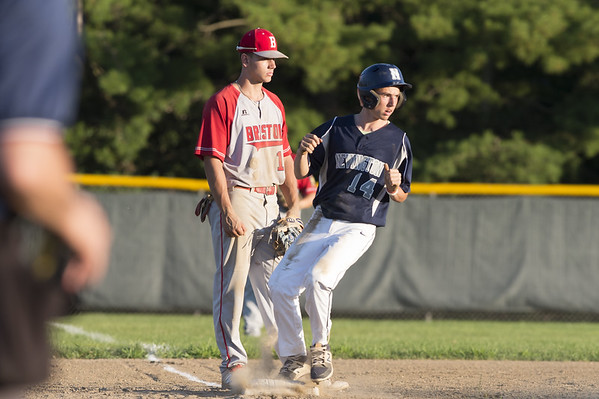 Newington baseball defeated Bristol in an American Legion game in Newington on Monday July 8, 2019. Bristol third baseman Mac Goulet (10) and Domenick Bukowski (14). Wesley Bunnell | Staff