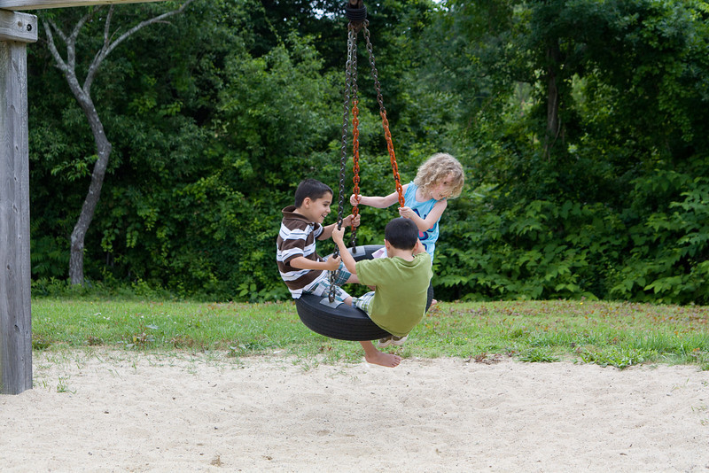 Beverly made friends with these boys - they had a lot of fun on the tire swing