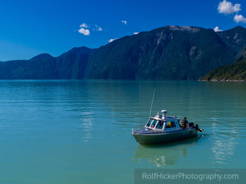 "The ""Ambient Light"" tour boat of Vancouver Island Photo Tours in Knight Inlet, British Columbia, Canada."
