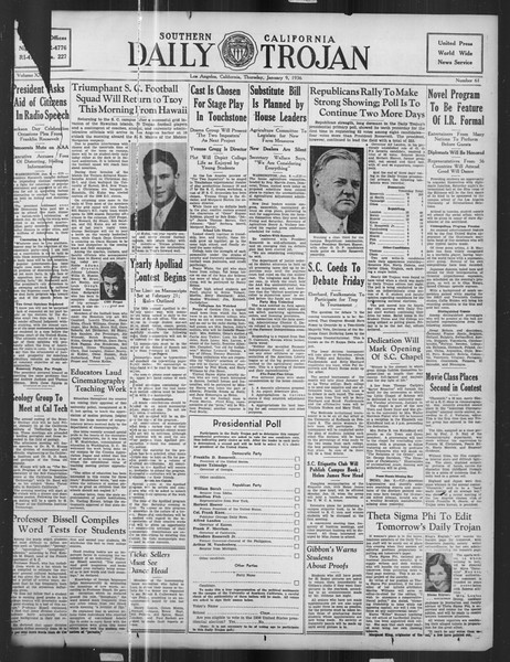 Daily Trojan, Vol. 27, No. 61, January 09, 1936