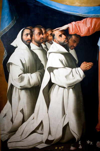 """Detail from the painting """"Virgin of the Misericordia Sheltering the Carthusians"""" (circa 1629), by Francisco de Zurbarán, Fine Arts Museum, Seville, Spain"""