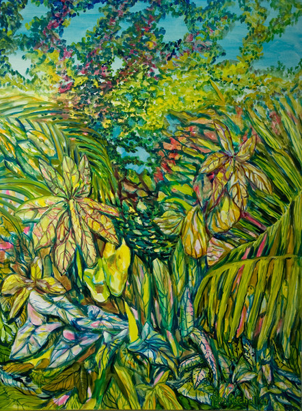 """©John Rachell  Title: The Garden, February 26, 2007 Image Size: 36"""" w by 48"""" d Dated: 2007 Medium and Support: Oil paint on canvas Signed: LR Signature"""