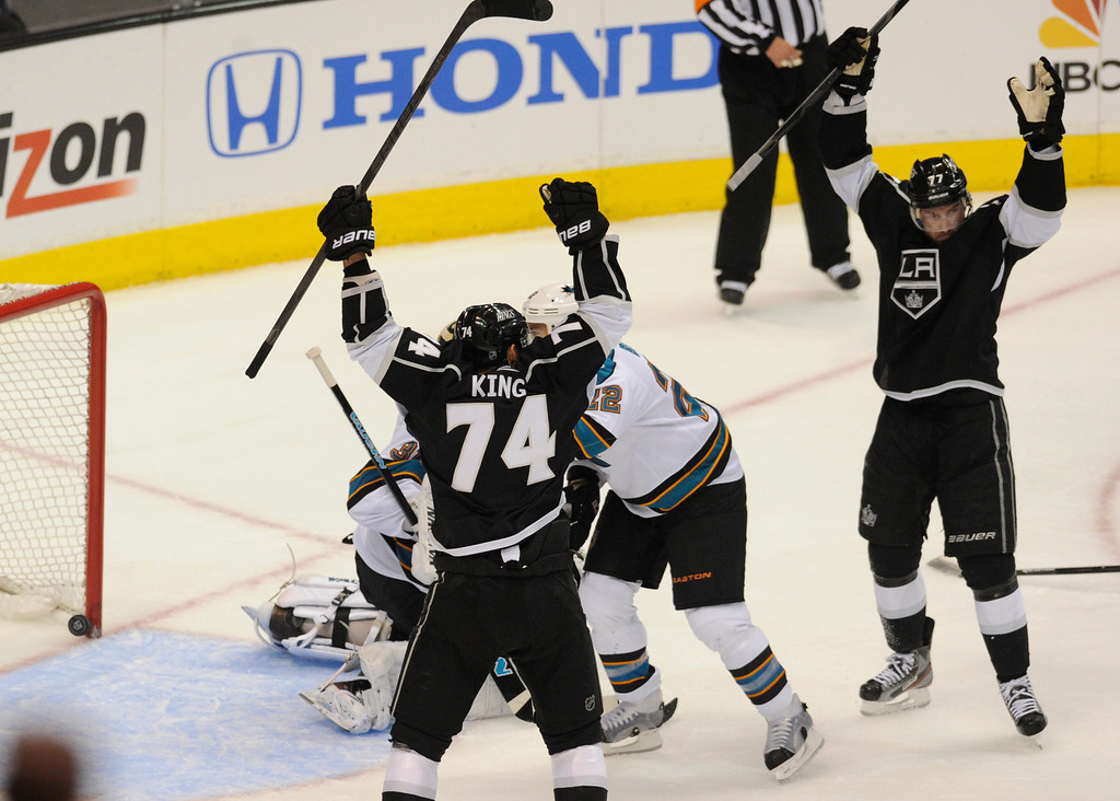 . Kings celebrate a goal by #26 Slava Voynov in the final seconds of the first period. The Kings played the San Jose Sharks during the first game in the Second Round of the Western Conference Playoffs. Los Angeles CA 5/14/2013(John McCoy/LA Daily News)