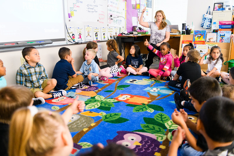 First-grade teacher Tawnya Eberly interacts with her students. Back to school day at Hallman Elementary School on Wednesday, September 4, 2019 in Salem, Ore.