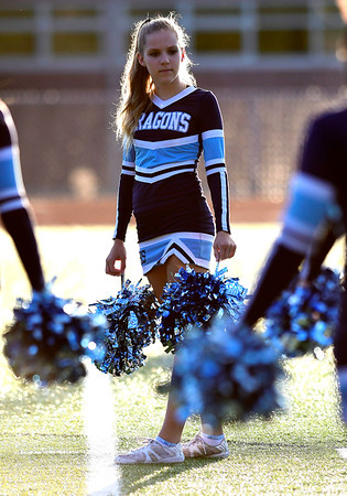 9/14/2018 Mike Orazzi | Staff Middletown High School Cheerleaders during Friday night's football game with Bristol Eastern in Bristol.