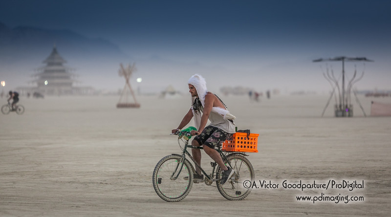 A bicycle is essential to get around the playa.