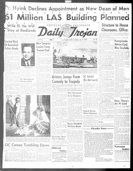 Daily Trojan, Vol. 40, No. 68, January 04, 1949