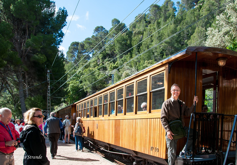 Doug boarding the wooden train en route to Soller, Mallorca