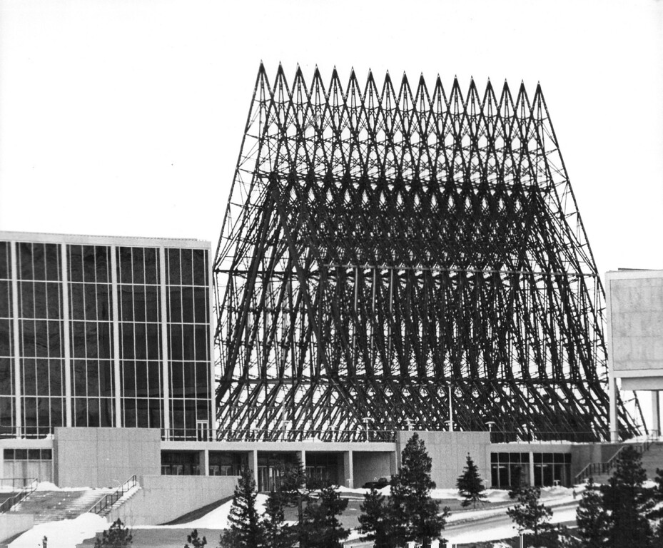 . U.S. Air Force Academy Chapel under construction, 1961. The Denver Post Library Archive