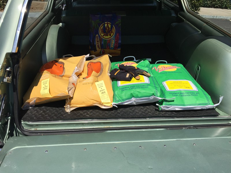 Biquette transports 80 pounds of bird seed