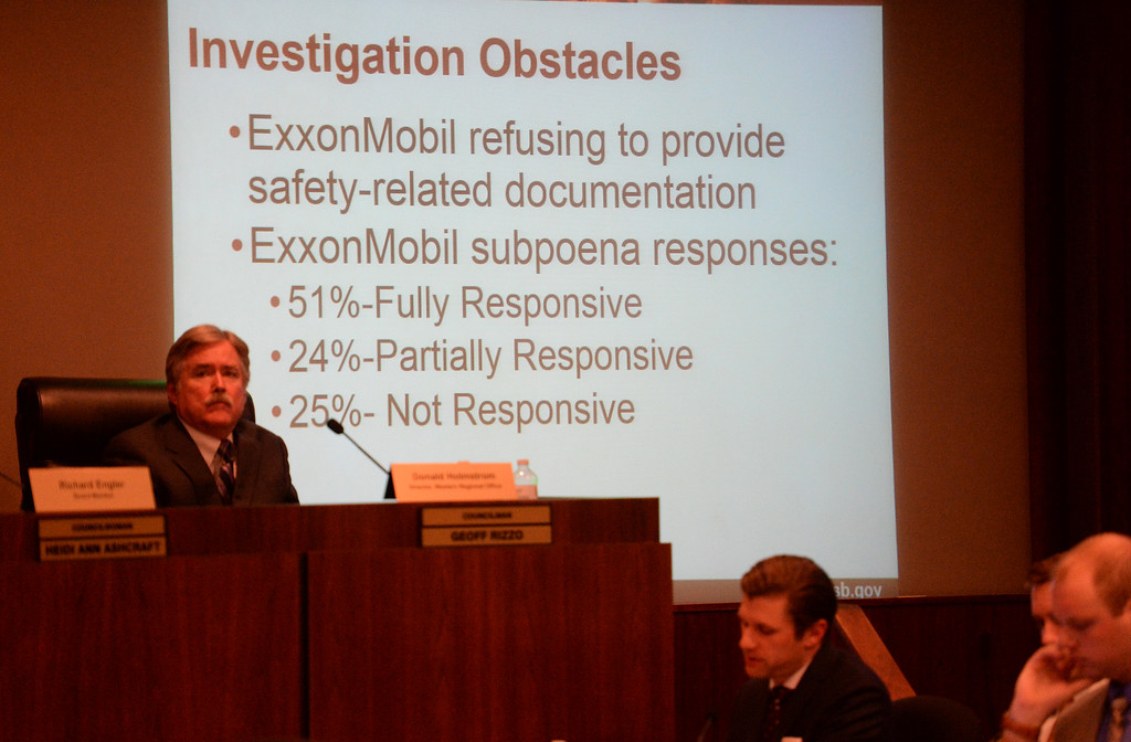 . The U.S. Chemical Safety Board hearing Wednesday, January 14, 2016, in Torrance made public the inquiry into the cause of the February explosion at ExxonMobil�s Torrance refinery. ExxonMobil workers spoke to say safety was the company�s top priority. Those comments came after hours of testimony from industry experts about lax safety conditions at the refinery.   Investigators present their findings to the board, including their claim in difficulty dealing with the refinery in the investigation.  (Photo by Steve McCrank/Daily Breeze)