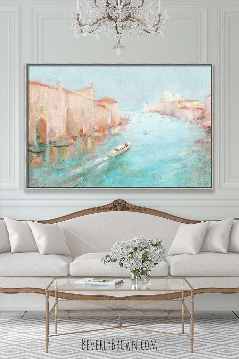 Venetian style living room with Venice Grand Canal artwork by Beverly Brown