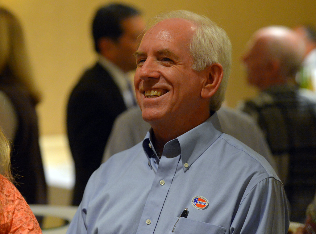 . Torrance mayoral candidate Tom Brewer chats with supporters at his election night party at the Doubletree Hotel in Torrance, CA on Tuesday, June 3, 2014. (Photo by Scott Varley, Daily Breeze)