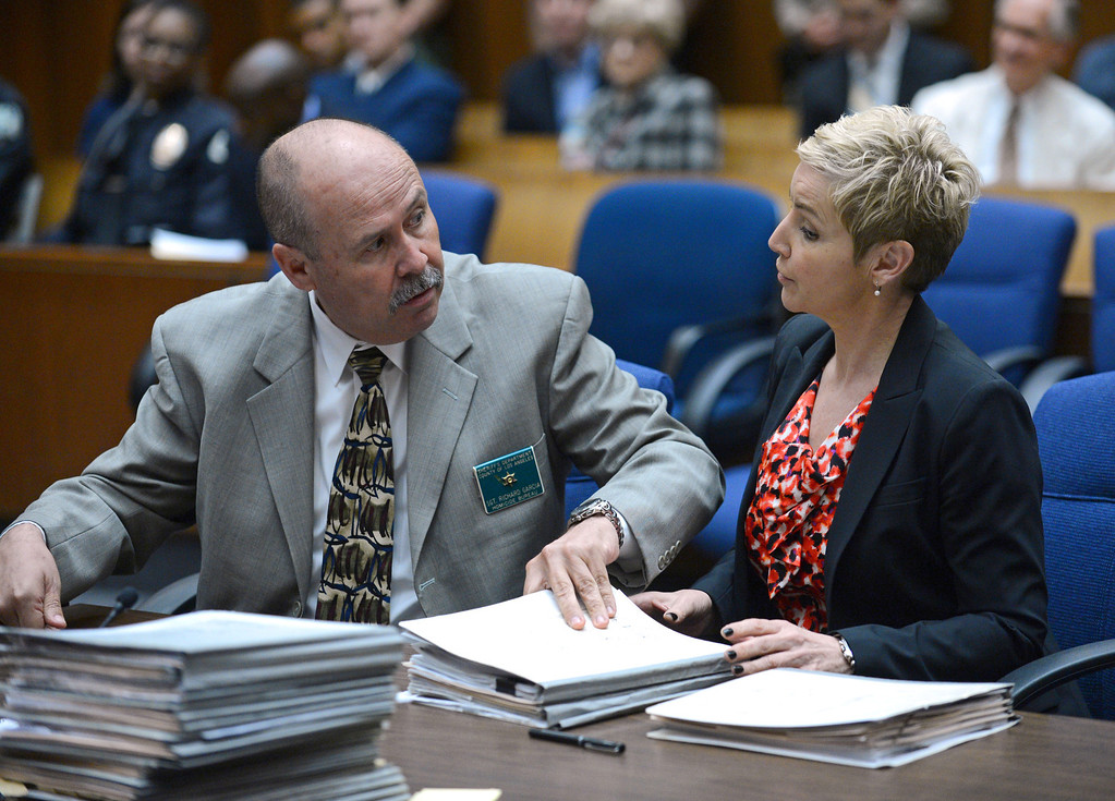 . Sgt. Richard Garcia with the Sheriff\'s Homicide Bureau and Prosecutor Deborah Brazil during sentencing of David Viens for the murder of his wife Dawn Viens. Photo by Brad Graverson/LANG 3-22-13