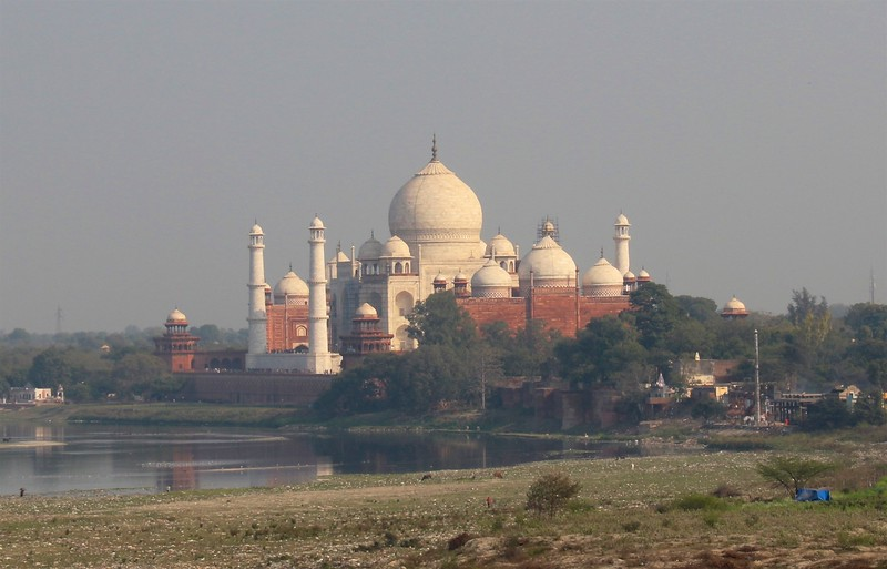 Our first sneak peek at the Taj Mahal as viewed from Red Fort - Agra