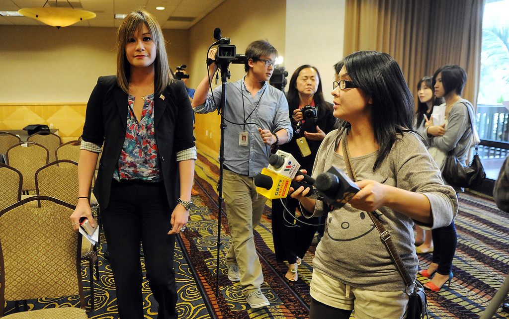 . Media follow Councilwoman Ling Ling Chang R-Diamond Bar as she announces her candidacy for State Assembly, 55th Assembly District during a press conference at Pacific Palms Resort on Friday, May 24, 2013 in Industry, Calif.  (Keith Birmingham Pasadena Star-News)