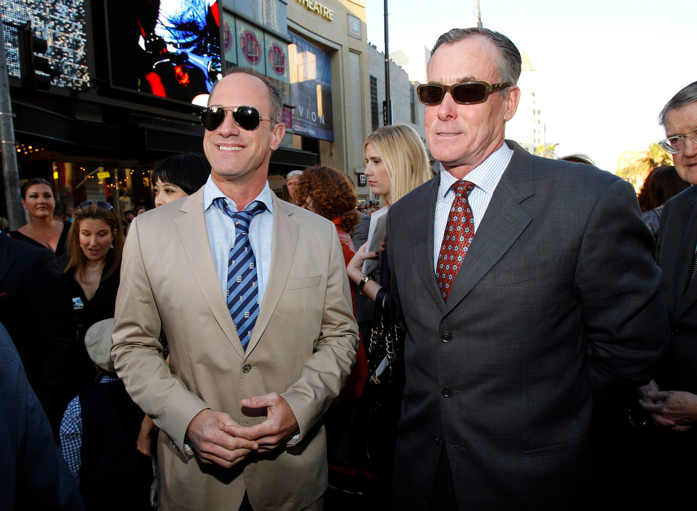 ". Cast members Christopher Meloni (L) and John C. McGinley attend the premiere of ""42\"" in Hollywood, California April 9, 2013. The movie opens in the U.S. on April 12.  REUTERS/Mario Anzuoni"