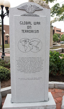 09/11/18 Wesley Bunnell | Staff New Britain unveiled its newest monument in Central Park which is dedicated to the War on Terror following the 9/11 attacks.