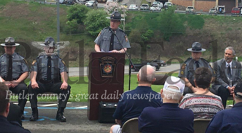 Capt. Steve Ignatz, troop commander, speaks during Friday's State Police Day ceremony at Troop D barracks in Butler Township. The event recognizes the Pennsylvania State Police and honors troopers killed in the line of duty.